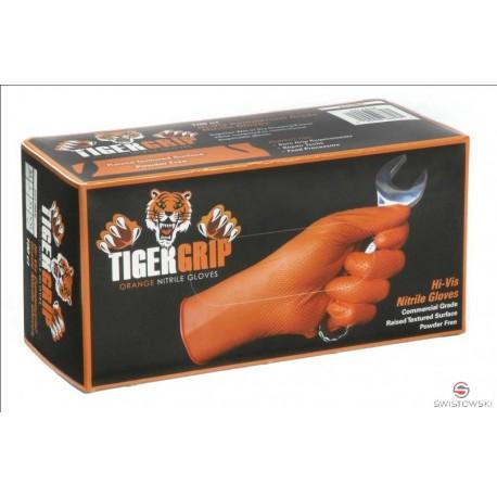 Rękawice nitrylowe TIGER GRIP XXL 90 szt./pud. pomarańczowe